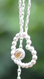 Handmade Citrine Silver Heart Necklace